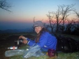 Heather_cooking_on_Siler_Bald