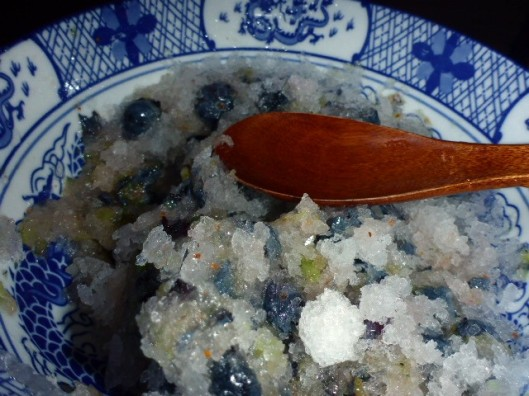 mashed blueberries