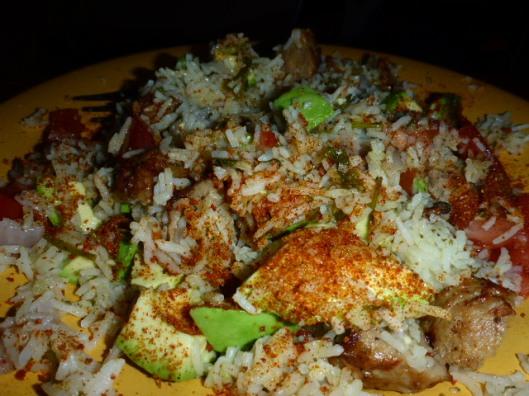 meatballs-tomato-avocado-lime-chile-rice